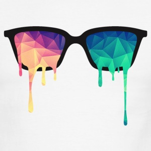 Abstract Psychedelic Nerd Glasses with Color Drops T-Shirts - Men's Ringer T-Shirt
