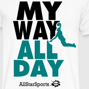 MY WAY ALL DAY BASKETBALL T-Shirts - Men's V-Neck T-Shirt by Canvas