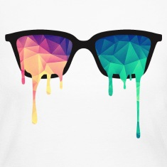 Abstract Psychedelic Nerd Glasses with Color Drops Long Sleeve Shirts