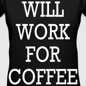 WILL WORK FOR COFFEE VNECK TEE - Women's V-Neck T-Shirt