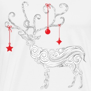 Xmas White Abstract Reindeer - Men's Premium T-Shirt