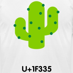 emoticon cactus UTF8 - Men's T-Shirt by American Apparel