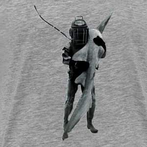 Vintage Diver with Diving Helmet Carrying a Shark T-Shirts - Men's Premium T-Shirt
