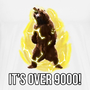 White IT'S OVER 9000 Bear Tee - Men's Premium T-Shirt