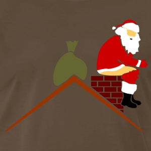 Santa Claus in chimney poops color Shirt - Men's Premium T-Shirt