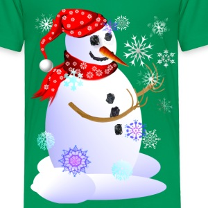 Christmas Snowman Catching Snowflakes - Toddler Premium T-Shirt