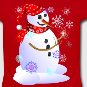 Christmas Snowman Catching Snowflakes - Short Sleeve Baby Bodysuit