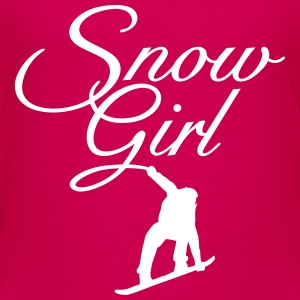 Snow Girl Children's Snowboard T-Shirt (Pink/White - Kids' Premium T-Shirt