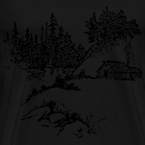 Cabin Along Stream - Men's Premium T-Shirt