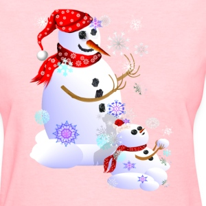 Christmas Snowman Catching Snowflakes - Women's T-Shirt