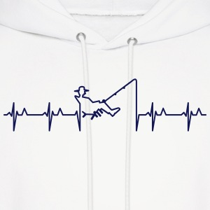My heart beats for fishing (1c) Hoodies - Men's Hoodie