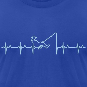 My heart beats for fishing (1c) T-Shirts - Men's T-Shirt by American Apparel