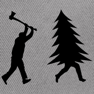 Funny Christmas tree is chased by Lumberjack Caps - Snap-back Baseball Cap