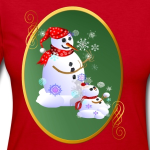 Daddy and Baby Snow Oval - Women's Long Sleeve Jersey T-Shirt
