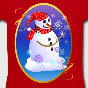 Christmas Snowman Catching Snowflakes Oval - Short Sleeve Baby Bodysuit