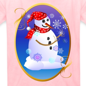Christmas Snowman Catching Snowflakes Oval - Kids' T-Shirt