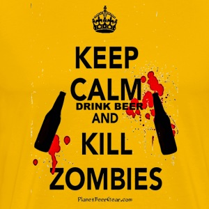 Keep Calm Drink Beer And Kill Zombies T-Shirts - Men's Premium T-Shirt