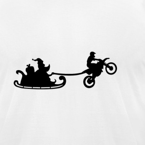Santa Motorbiker Wheelie - Men's T-Shirt by American Apparel