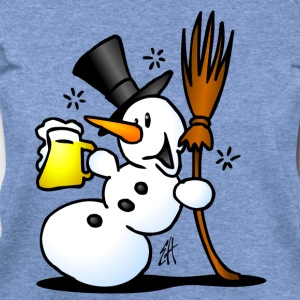 Snowman drinking Long Sleeve Shirts - Women's Wideneck Sweatshirt