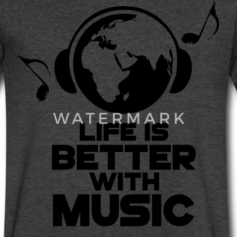 Life is Better with Music T-Shirts - Men's V-Neck T-Shirt by Canvas