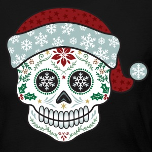 Sugar Skull Santa Long Sleeve Shirts - Women's Long Sleeve Jersey T-Shirt