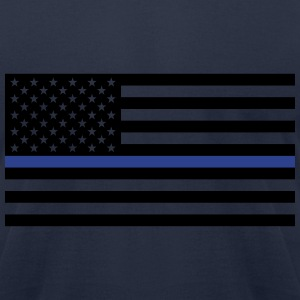 Thin Blue Line American Flag - Men's T-Shirt by American Apparel