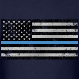 Thin Blue Line American Flag (distressed) - Men's T-Shirt
