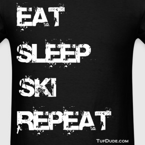 Eat Sleep Ski Repeat wb TD - Men's T-Shirt
