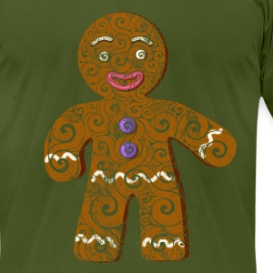 Swirly Gingerbread Man - Men's T-Shirt by American Apparel