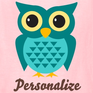 Girly pink t shirt with cute owl cartoon and name - Kids' T-Shirt