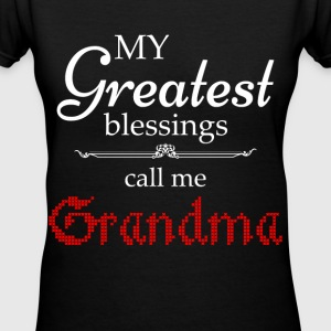 Greatest Blessing Call Me Grandma Women's T-Shirts - Women's V-Neck T-Shirt