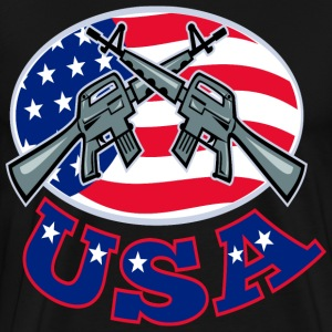 Crossed Ar-15's American Flag USA - Men's Premium T-Shirt