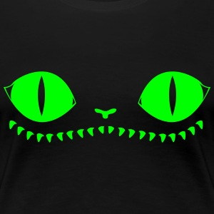 Creepy Cat (Green+Black) - Women's Premium T-Shirt