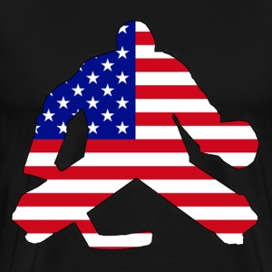 American Flag Goalie T-Shirts - Men's Premium T-Shirt