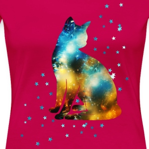 Space Cat on the Milky Way, Galaxy, Kitty, Star Women's T-Shirts - Women's Premium T-Shirt
