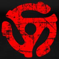 Design ~ 45 R.P.M. Record Adaptor T-Shirt (Women Black/Red)