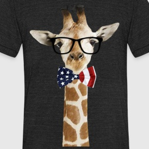 Patriotic hipster Giraffe with American Bowtie - Unisex Tri-Blend T-Shirt by American Apparel