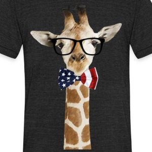 Patriotic hipster Giraffe with American Bowtie - Unisex Tri-Blend T-Shirt