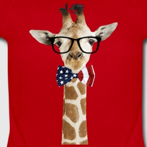 Patriotic hipster Giraffe with American Bowtie - Short Sleeve Baby Bodysuit