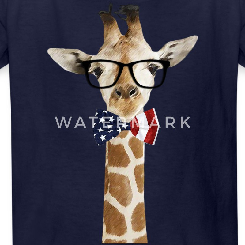 Patriotic hipster Giraffe with American Bowtie - Kids' T-Shirt
