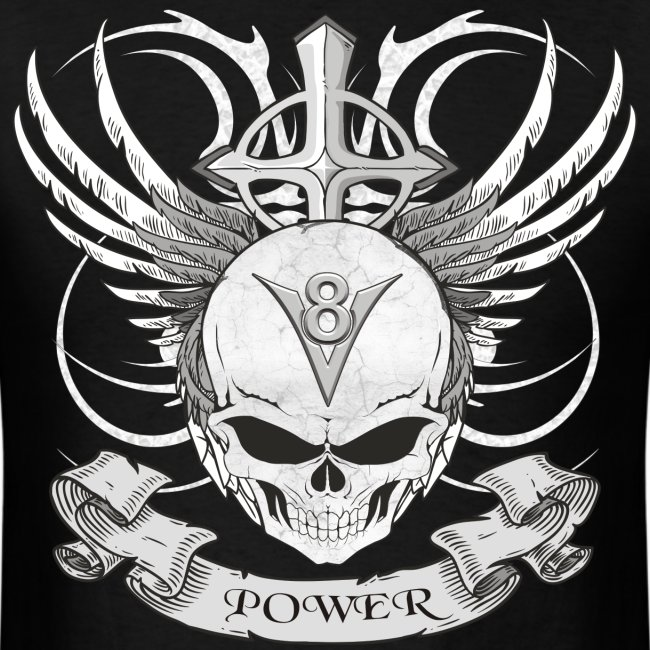 V8 logo with skull in tattoo style T-Shirts