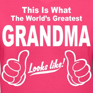 Worlds Greatest Great Grandma Looks Like Women's T-Shirts - Women's V-Neck T-Shirt