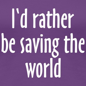Saving The World T-Shirt (Women Purple&White) - Women's Premium T-Shirt