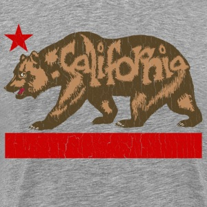 Fuzzy California State Bear (distressed look) - Men's Premium T-Shirt