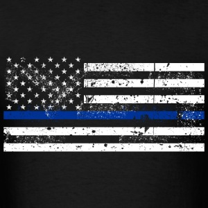 tattered distressed thin blue line flag vintage - Men's T-Shirt
