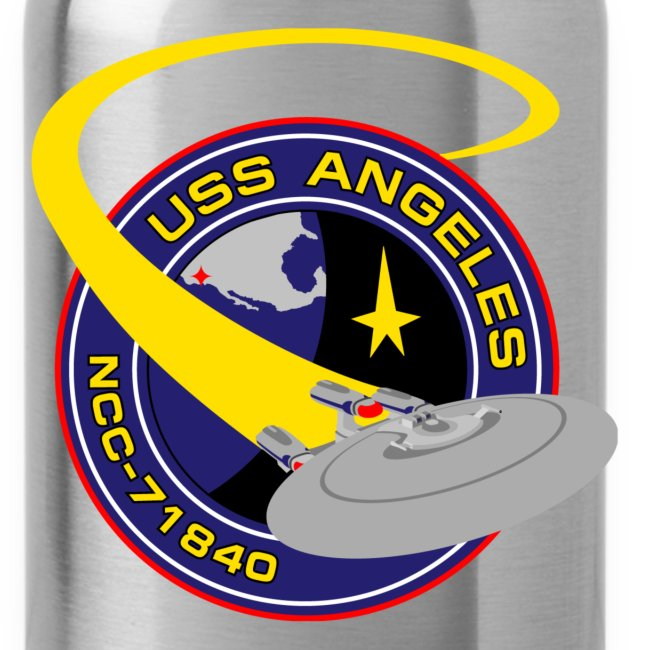 Water Bottle with both old and new USS Angeles logos