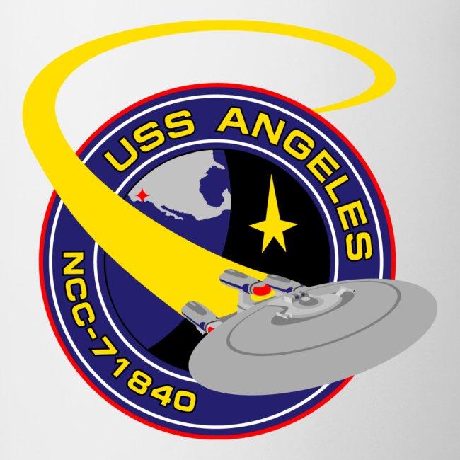 Two-tone mug (new USS Angeles mission logo and starship)