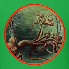 Vintage Divers with Helmets Fighting an Octopus