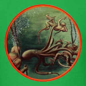 Vintage Divers with Helmets Fighting an Octopus - Men's T-Shirt