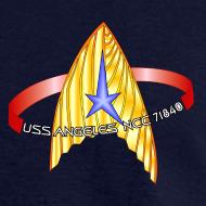 Design ~ Men's Standard T-shirt (starship orbiting scene on back)